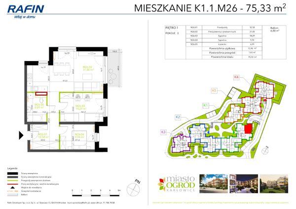 Rzut Miasto Ogród Karłowice - K1.1.M26