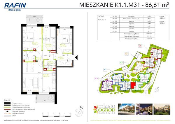 Rzut Miasto Ogród Karłowice - K1.1.M31