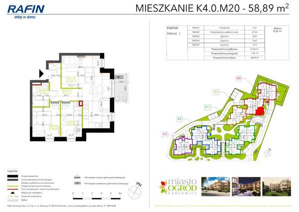 Rzut Miasto Ogród Karłowice - K4.0.M20