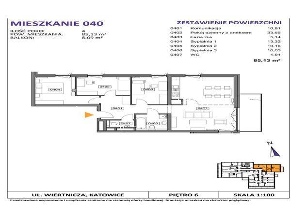 Rzut Słoneczne Apartamenty - WIERTNICZA_M040