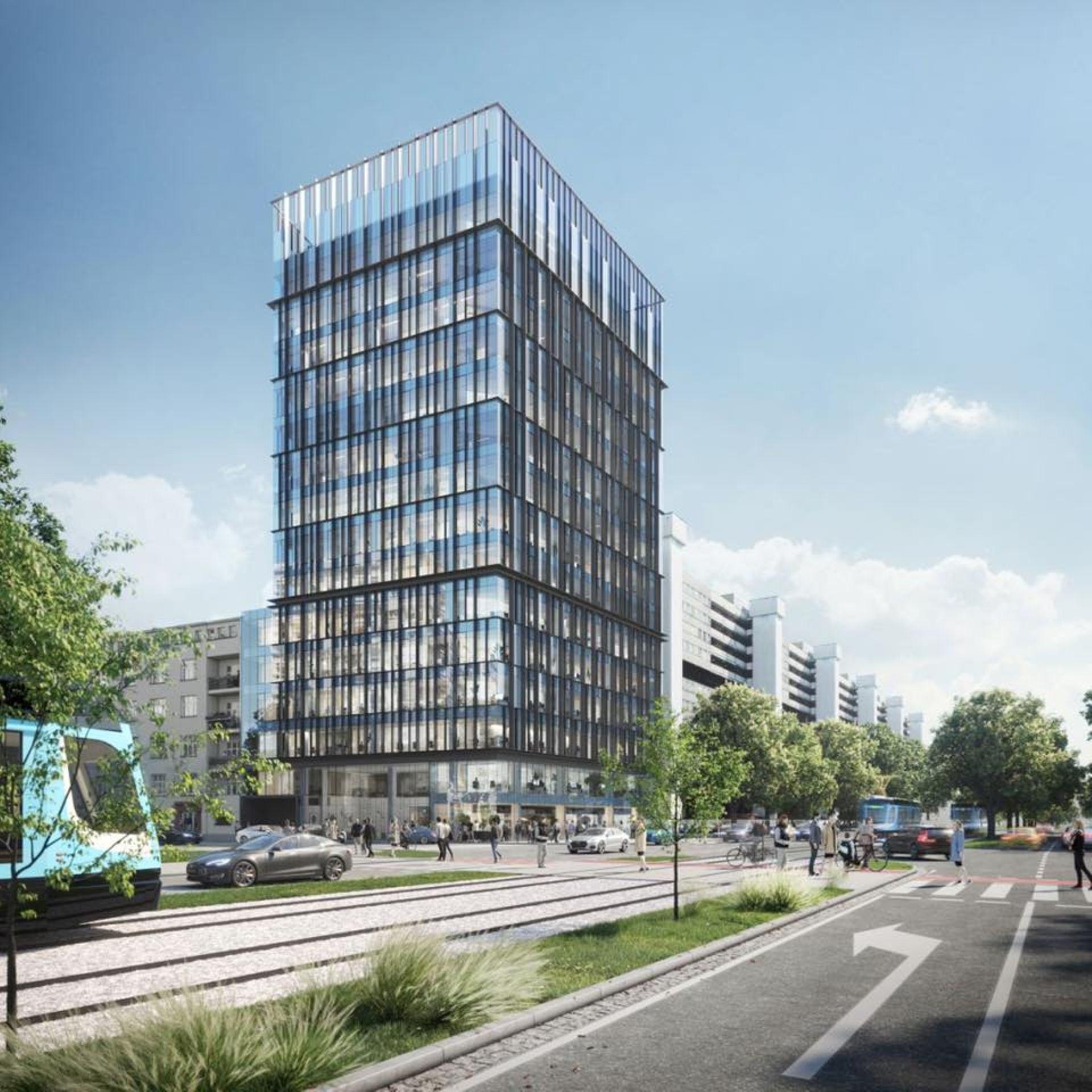 Trwa budowa ponad 60-metrowego biurowca obok Sky Tower. Jest nowy termin zakończenia prac