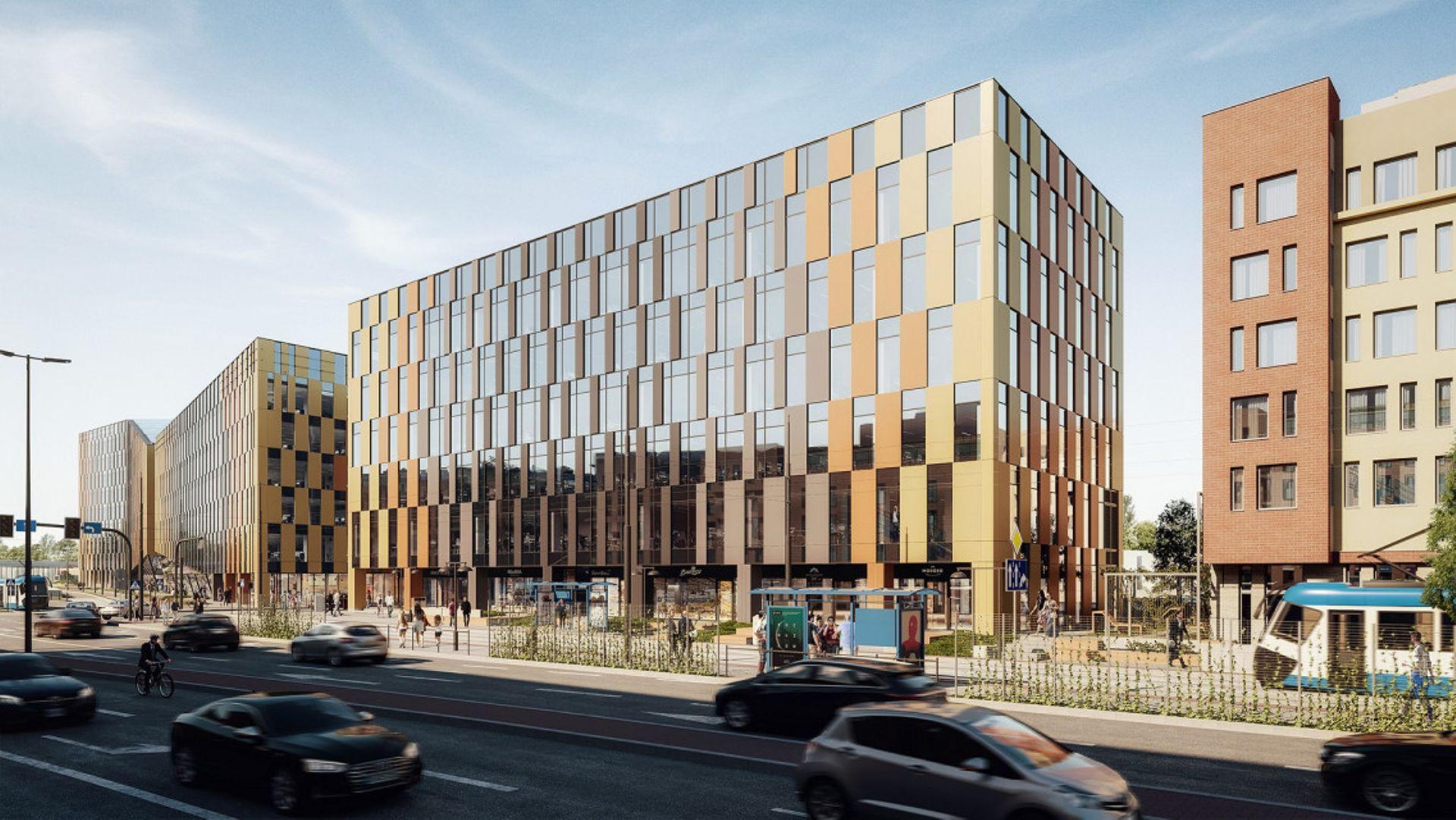 W centrum Krakowa trwa budowa trzeciego etapu kompleksu biurowego High5ive