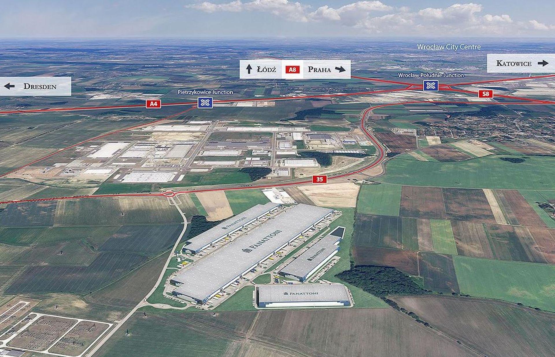 Pod Wrocławiem, w gminie Kobierzyce Panattoni buduje wielki park logistyczno-przemysłowy [FILM + WIZUALIZACJA]