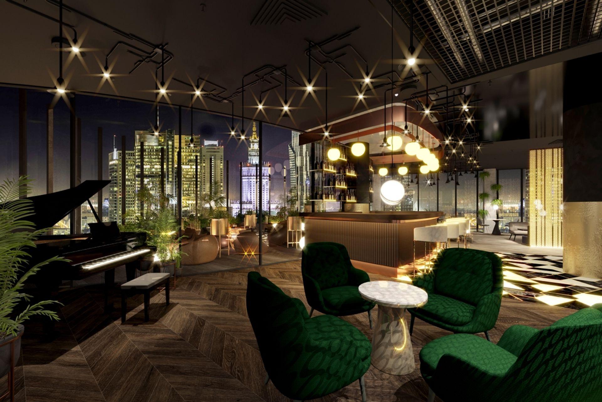 Warszawa: Sky bar na wysokości 80 metrów. Ghelamco prezentuje wnętrza hoteli w The Warsaw Hub