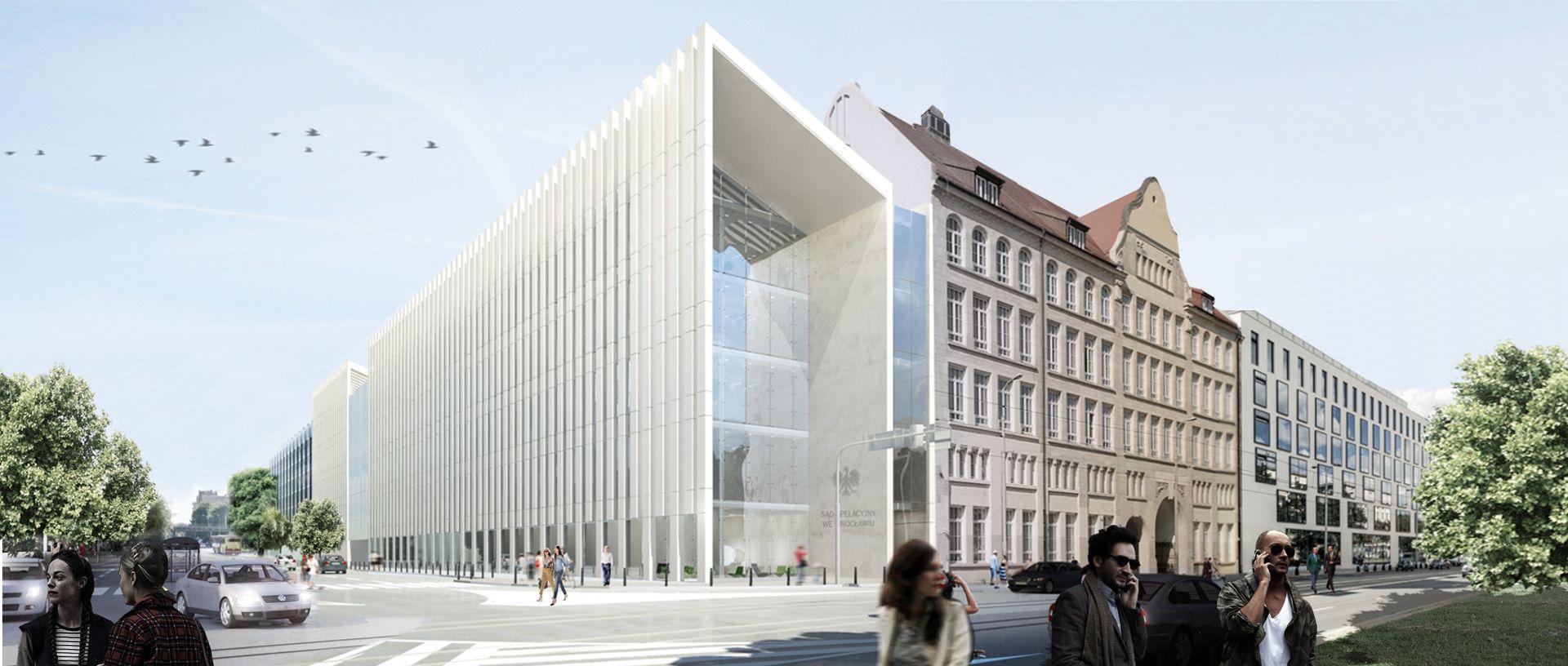 [Wrocław] Ruszają przygotowania do budowy nowego gmachu sądu przy Piłsudskiego [WIZUALIZACJE]